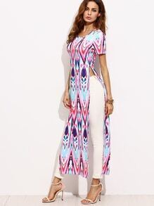 Multicolor Geometric Print Split Maxi T-shirt