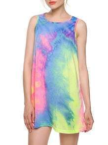 Multicolor Pastel Tie Dye Print Tank Dress
