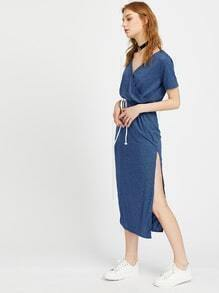 Heather Grey Surplice Front Drawstring Maxi Dress