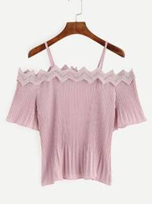 Pink Eyelet Lace Applique Pleated Cold Shoulder Top