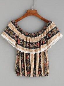 Multicolor Floral Print Lace Trim Off The Shoulder Top