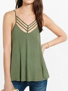 Olive Green Caged Cami Top