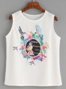 White Bird Print Tank Top