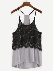 Grey Contrast Lace Overlay Cami Top
