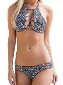 Black Geo Print Ladder Cutout Halter Neck Bikini Set