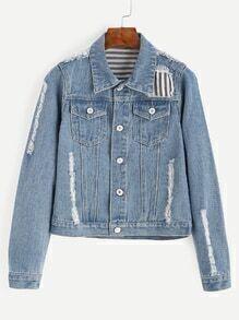 Blue Distressed Patchwork Denim Jacket