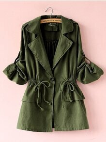 Olive Green Roll Tab Sleeve Drawstring Trench Coat