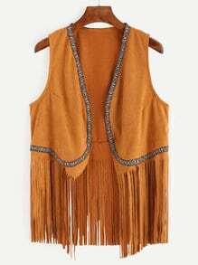 Camel Faux Suede Fringe Vest With Embroidered Tape Detail