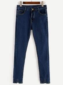 Blue V Cut Hem Skinny Jeans