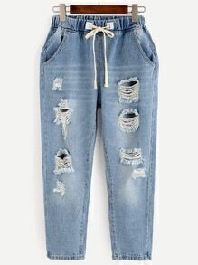 Blue Ripped Bleach Wash Drawstring Jeans