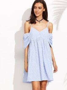 Blue Vertical Striped Ruched Cold Shoulder Dress