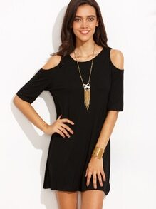 Black Open Shoulder T-shirt Dress