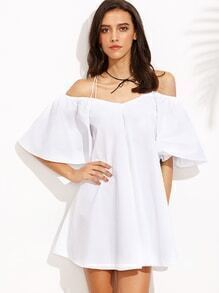 White Crisscross Cold Shoulder Bell Sleeve Dress
