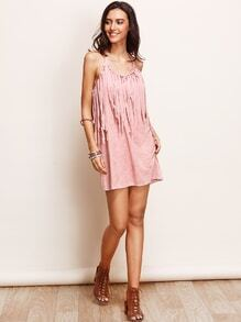 Pink Faux Suede Fringe Dress