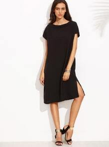 Black Pleated Back Shift Dress