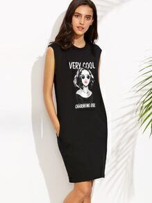 Black Portrait Print T-shirt Dress