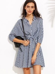 Navy Checkerboard Tie Front Shirt Dress