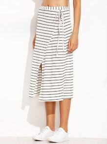 White Striped Wrap Over Midi Skirt