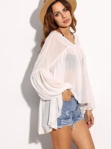 White Sheer Lantern Sleeve High Low Top