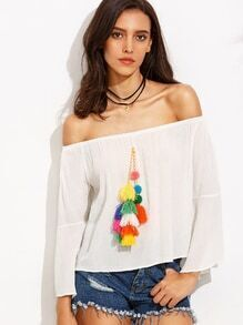 White Tassel Embellished Off The Shoulder Top