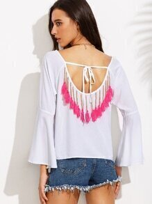 White Tassel Trim Tie Back Bell Sleeve Blouse