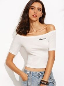 White Letter Embroidered Off The Shoulder T-shirt