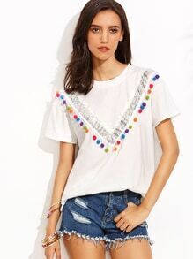White Pom Pom Trim Sequin Panel T-shirt
