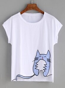 White Striped Cat Patch T-shirt