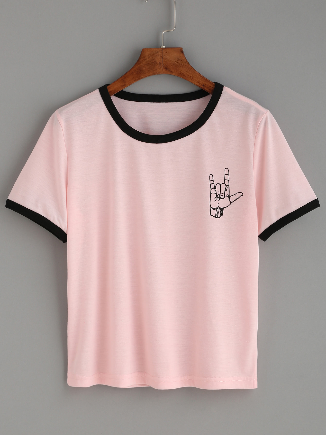 t shirt mit druck und kontrastfarbigem saum rosa german. Black Bedroom Furniture Sets. Home Design Ideas