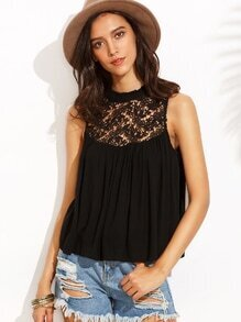 Black Crochet Insert Chiffon Top