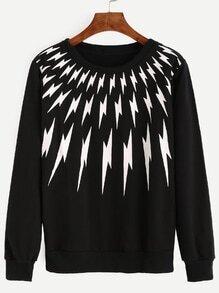 Black Lightning Print Pullover Sweatshirt