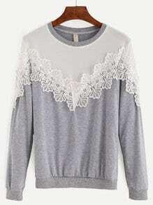 Heather Grey Contrast Yoke Lace Applique Pullover Sweatshirt