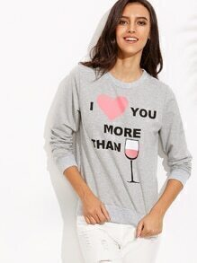 Heather Grey Letter Print Pullover Sweatshirt