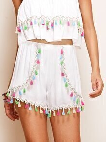 White Tassel Trim Wrap Shorts