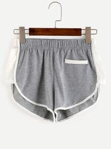 Heather Grey Contrast Binding Shorts