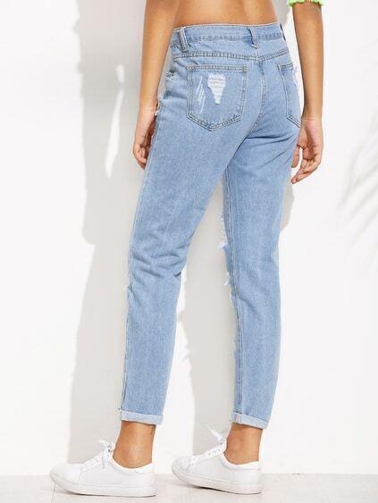 Blue Distressed Roll Hem Jeans