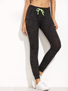 Black Marled Knit Skinny Drawstring Jersey Pants