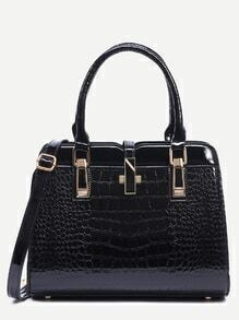 Black Crocodile Embossed Faux Patent Leather Satchel Bag