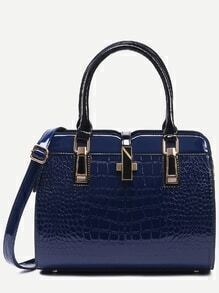 Navy Crocodile Embossed Faux Patent Leather Satchel Bag