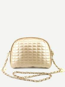 Gold Quilted Dome Bag With Chain