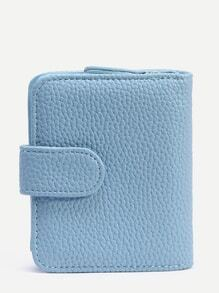 Blue Strap Closure Fold Over Wallet