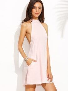 Halter Knotted Backless A-Line Dress With Zipper