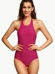 Hot Pink Strappy Neck One-Piece Swimwear