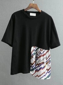 Black Patchwork Drop Shoulder T-shirt