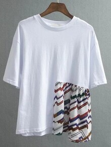 White Patchwork Drop Shoulder T-shirt