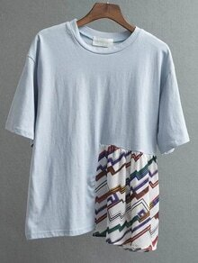 Blue Patchwork Drop Shoulder T-shirt
