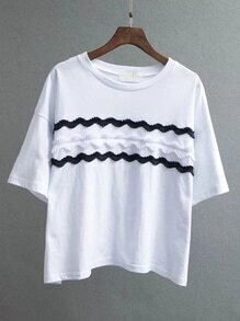 White Appliqued Front Drop Shoulder T-shirt