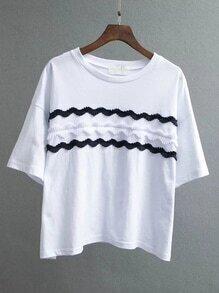 White Appliqued Front Drop Shoulder T-shirt