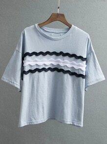 Blue Appliqued Front Drop Shoulder T-shirt