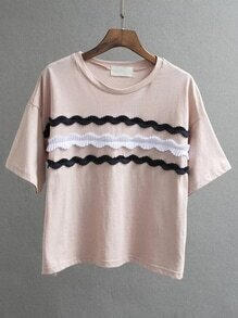 Pink Appliqued Front Drop Shoulder T-shirt